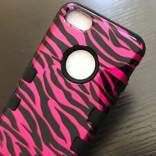 For iPhone 5C - HARD&SOFT RUBBER HYBRID ARMOR SKIN CASE COVER PINK ZEBRA STRIPES