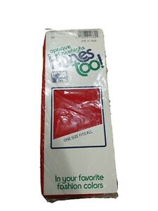 Vintage NOS Opaque Hanes Too 152 Red Dandy Dots Pantyhose - 1989 USA - One Size