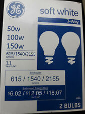 'GE' Soft White [3 way] Light Bulbs // 50/100/150w // [2 Bulbs] //