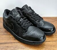 Nike Air Jordan 1 One Low Retro Triple Black 553558-010 Men's Size 9.5