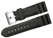 24mm Black Silicone Rubber Bands Steel Pre-V Tang Buckle Watch Strap For Panerai