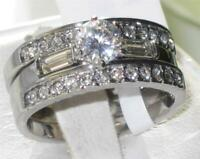S1040  3PCS ENGAGEMENT& WEDDING RING SET SIMULATED DIAMOND STERLING SILVER BANDS