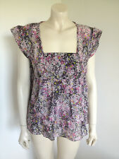 Piper Cotton Silk Blend Short Sleeve Baby Doll Blouse Size 16