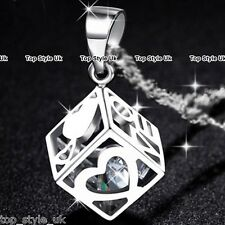 Diamond Inside Hollow Heart Cube Pendant Silver Necklace Love Gifts for Her C3
