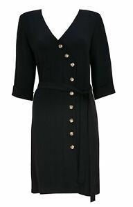 WALLIS BLACK ASYMMETRIC BUTTON WRAP TUNIC OFFICE SHIFT DRESS SIZE 10/18 RRP.£35