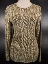 Beautiful Women's Medium Michael Kors Brown Zebra Skin Design LS Knit Top GUC