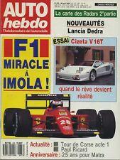 AUTO HEBDO n°673 du 26 Avril 1989 CIZETA V16 LANCIA DEDRA TOUR DE CORSE