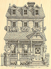 Colonial Summer Garden Wood Mounted Rubber Stamp Impression Obsession H1005 NEW