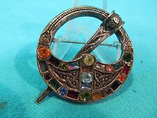 SIGNED SOLD'O CELTIC SWORD BROOCH WITH COLORFUL RHINESTONES