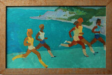 Attribué à Oscar KATCHAROV (1924) huile s/panneau bois dim. 25 x 39 cm jogging 2