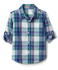 Gap Baby Boy Toddler Plaid Poplin Convertible Shirt White Blue Size 4T 4 Years