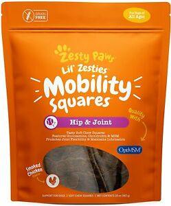 Zesty Paws Hip & Joint Soft Chew Squares for Dogs - with Glucosamine,...