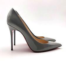 Christian Louboutin Ladies Grey Leather PIGALLE 100 Pump Heel Shoe Size 37 UK 4