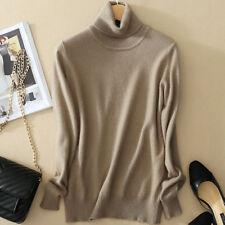 Women Slim Cashmere Solid Sweater Winter Knitted Turtleneck Pullover Warm Jumper