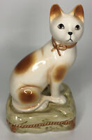 "Vintage Ceramic Porcelain Kitty Cat Sitting On Pillow Orange White 8"" Tall"