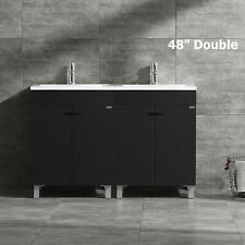 """Black 48"""" Modern Bathroom Vanity Cabinet Double Sink with Faucet Combo Mdf Wood"""