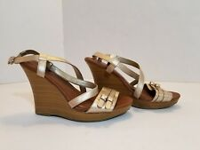 Banana Republic Light Gold High Wedge Sandals Sz 8 Womens Buckle Open Toe