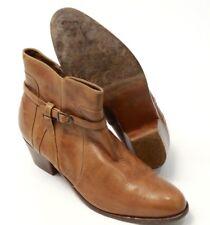 Women's Vintage Porto Fino Brown Leather Zipper Buckle Chukka Beatles