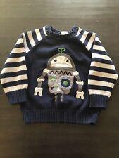 Gymboree Gray Blue Robot Sweater Size 2T EUC