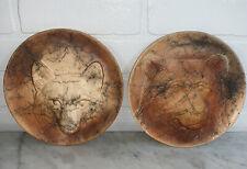 Pair 2 Vintage Studio Signed Resin Hanging Plates Bear Wolf 7.5�
