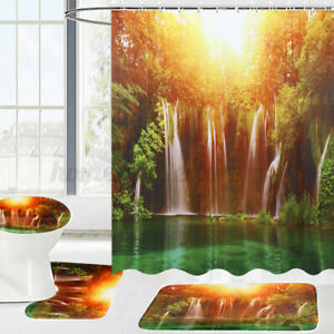 72''x72'' 3D Scenery Wall Hanging Shower Curtain Bathroom Toilet Cover Rug Mat