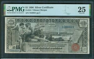 """$1 Silver Certificate, series 1896 """"Educational"""" PMG Very Fine 25"""