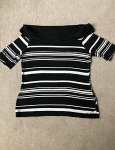 M&S Ladies Top Size 18 Bardot Style T-Shirt Top Black and White Stripe