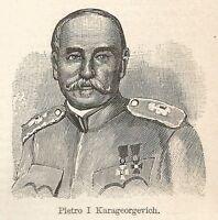 A7494 Pietro I Karageorgevich - Stampa Antica del 1929 - Xilografia