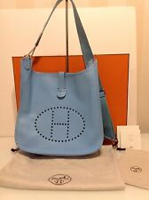 Authentic Hermès Evelyne III GM Crossbody Bag Turquoise Epsom Leather & Silver