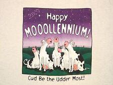Vintage Happy Millennium Moollennium Cow Puns Punny Funny Jokes 1998 T Shirt L