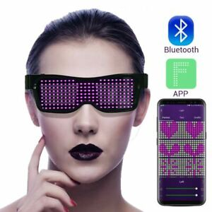 Bluetooth LED Smart Glasses Light Up Flashing App Control Halloween Christmas