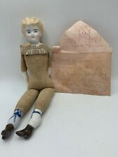Antique Blonde Haired Doll Porcelain Head Hands Feet Sawdust Body Lace Neck