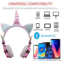 Cute Unicorn Bluetooth 5.0 Wireless Headsets w/Mic Headphones For Kids Girls ~