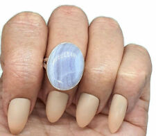Blue Lace Agate Ring, Size 8, Sterling Silver, Oval Shaped, Communication Gem
