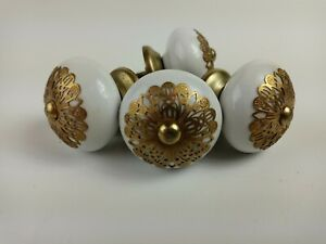Vintage Porcelain or Ceramic Pull Knobs White Gold Trim Very RARE