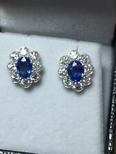 Stunning 18ct. 750. Yellow Gold Natural Sapphire & Sparkling Diamond Earrings