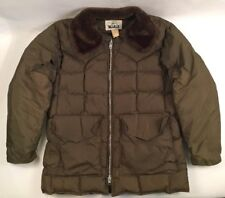 VTG Woolrich Goose Down Puffer Jacket XL USA Green Parka Winter 70s Talon Zipper