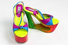 Steve Madden Wedge Heel Rainbow Platform Shoe Size 7 Colorful Neon Pink Yellow