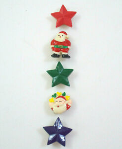 Lot of 5 SANTA CLAUS & STAR BUTTON COVERS Decorations For Ugly Christmas Sweater
