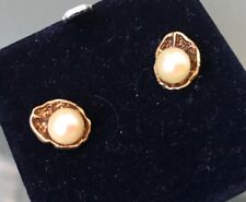 9ct Gold Women's PEARL Earrings in a 'Shell Style' Stamped Quality Weight 2.4g