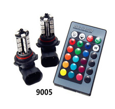 Pair HB3/9005 27LED 5050 Multi-Color  RGB Bulbs Fog DRL Lights & Remote Control
