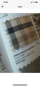 """Laura Ashley Mitford Charcoal/Biscuit Check Lined Eyelet Curtains 65"""" W x 72"""" L"""