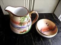 "2 pc Antique Japanese Noritake  Dainty 3"" Creamer & Bowl Hand Painted Landscape"