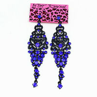 Women's Crystal Rhinestone Retro Earbob Long Dangle Betsey Johnson Earrings Gift