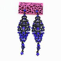 Women's Crystal Rhinestone Retro Earbob Long Dangle Betsey Johnson Earrings Gift