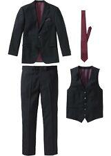 Herren Anzug schwarz 54 Sakko Hose Weste Krawatte Hochzeit Bühne 558 neu