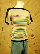 70er Shirt Vintage Kurzarm Größe 46 Pullover Gestreift Print Muster Retro Strick