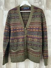 Ralph Lauren Polo Green Knitted Fair Isle Cardigan Size M