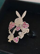 PLAYBOY Logo Hearts Pink Crystal Silver Plated Ring Size 9 Free UK Delivery!