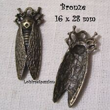 407 / LOT de 2 CHARM / BRELOQUE / PENDENTIF - CIGALE INSECTE Bronze - 16 x 28 mm